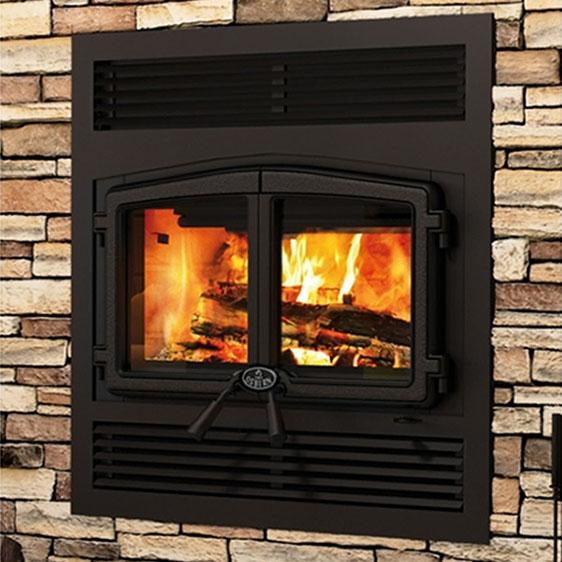 Fully installed Osburn Wood Burning Fireplace.
