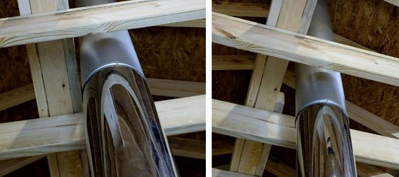 To the left is a wall header that has been notched for clearance to a Class A chimney pipe, however, the required air space between the wooden header and pipe has not been maintained. The image to the right displays a header that has been notched to maintain the proper amount of air space.