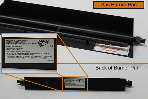 Burner Tray Serial Numbers