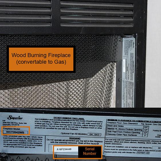 Wood Burning Fireplace Data Plate