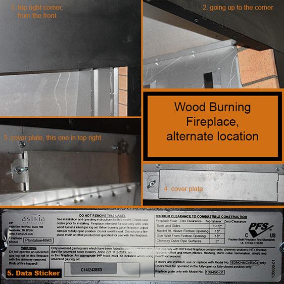 Alternate Wood Burning Hearth Appliance Data Plate